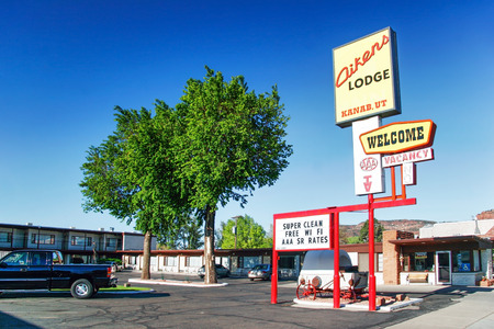 national parks: KANAB, USA - 7 MAY, 2007: Aiken lodge hotel in Kanab town. Kanab - commercial center of a large farming, ranching and recreational community, town at the hub of the southwests national parks. Stock Photo