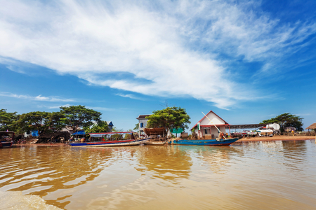 tonle sap: The village on the water. Tonle sap lake. Cambodia Stock Photo
