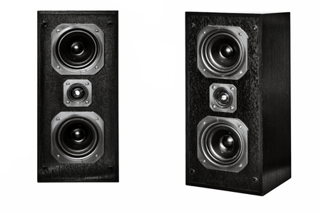 two party system: The black hi-fi sound speakers on white
