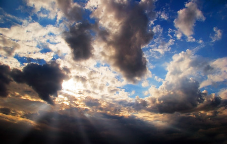 dramatics: Dramatics sunset sky with clouds for background Stock Photo