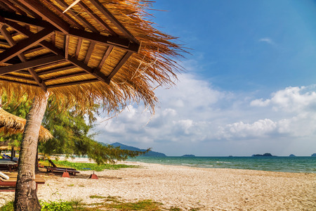 sulight: Umbrellas at the sand tropical beach in sulight. Chang island. Thailand