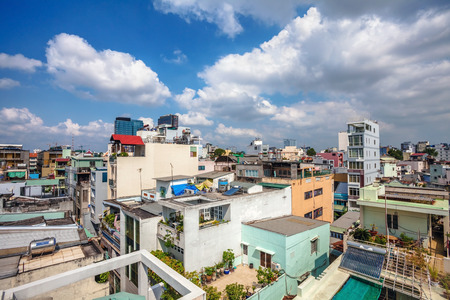 renamed: HO CHI MINH, VIETNAM - APRIL 28, 2014: View of one of the oldest neighborhoods in Ho Chi Minh City. Its formerly named Saigon, which was officially renamed Ho Chi Minh City July 2, 1976