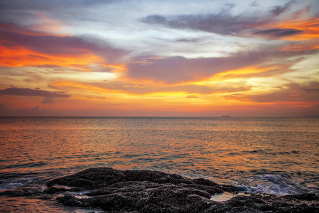 topical: Rocks at topical beach at beautiful sunset. Nature background Stock Photo