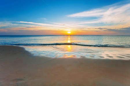 white sand beach: Tropical beach at beautiful sunset. Nature background