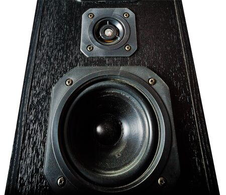 two party system: The black hi-fi sound speakers. View from bottom