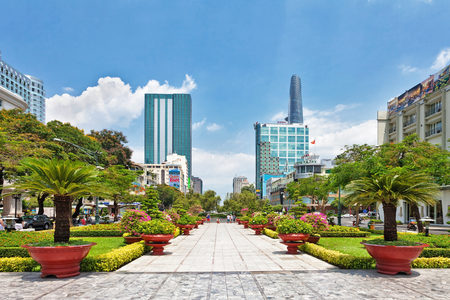 HO CHI MINH, VIETNAM - APRIL 28, 2014: View from public park on Bitexco Financial Tower - the tallest building in the Ho Chi Min city. Its construction was completed in 2010.