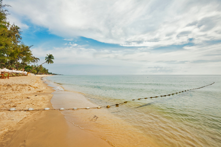 Beautiful tropical beach with  sea view, clean water & clody sky at Phu Quoc island  in Vietnam.