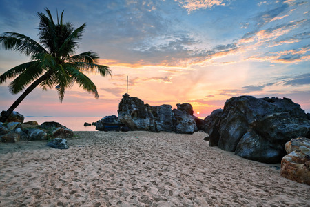 waves on beach: Beach at sunset at Phu Quoc island  in Vietnam Stock Photo