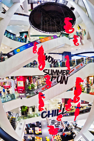 zen interior: BANGKOK, THAILAND- APRIL 30, 2015: Festive interior ZEN shopping mall in Central World Plaza. It is a shopping plaza which is the sixth largest shopping complex in the world, owned by Central Pattana Editorial