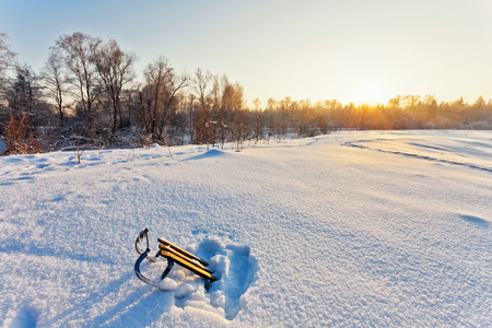 ray trace: winter landscape with sledge and sun rays