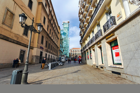 dedicated: MADRID, SPAIN - OCTOBER 26, 2015 :The lane leading to the Reina Sofia Museum, dedicated to the exhibition of modern and contemporary art Editorial