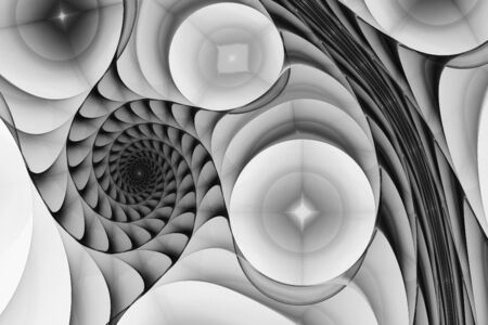 black swirls: Digital abstract fractal background generated at computer in black and white. Stock Photo