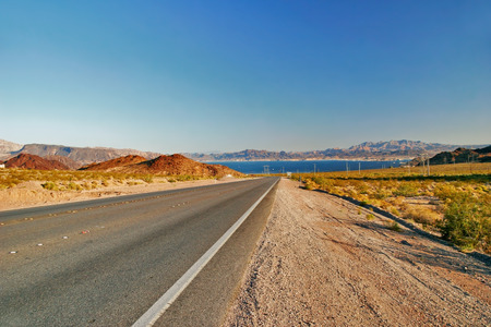 hoover: Road from Lake Mead near Hoover Dam. United States