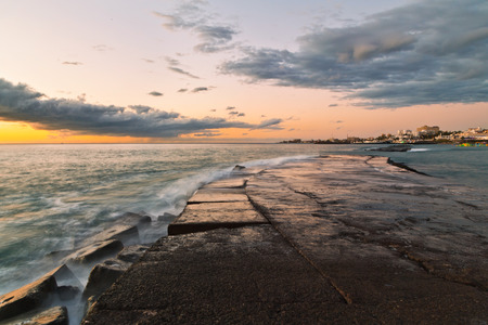 adeje: Stones at topical beach at beautiful sunset.Costa Adeje, Tenerife, Spain Stock Photo