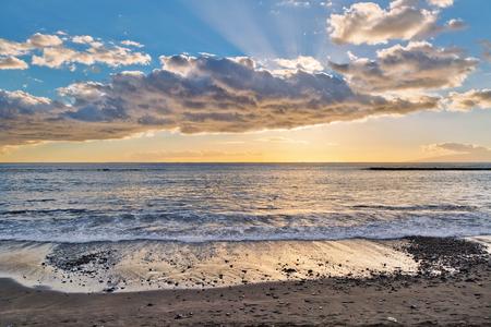 adeje: Tropical beach at beautiful sunset.Costa Adeje, Tenerife, Spain