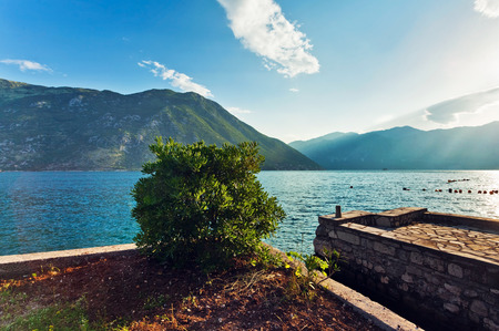 seafronts: seafront with sea and mountain views in sunlights.  Montenegro