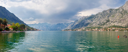Nice mountain and sea view. Kotor. Montenegro. Stitched panorama
