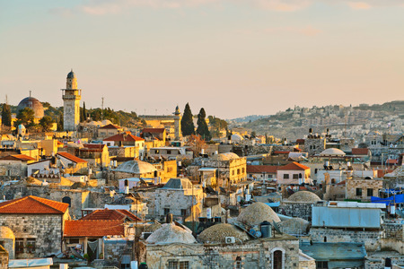 Panoramic view on old part of Jerusalem city, Israel