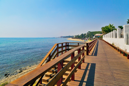 Wooden path on the beach. Mijas Costa. Andalusia. Spain Stock Photo