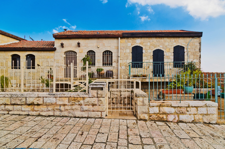 jewish houses: old house in Yemin Moshe district, Jerusalem, Israelin Stock Photo
