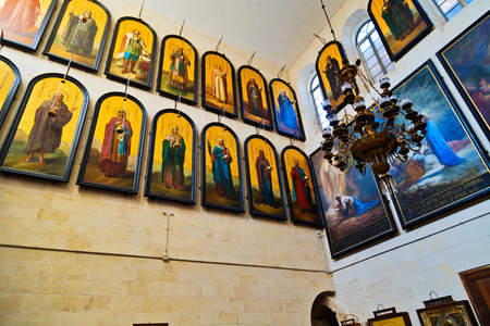 coptic orthodox: Icons in the Russian Orthodox Church of St. Alexander Nevsky in the complex of the Alexander courtyard of the Imperial Orthodox Palestine Society in the old city of Jerusalem.