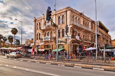 JERUSALEM, ISRAEL - DECEMBER 29, 2016: The old building in the Muslim quarter in Jerusalem opposite the Damascus gate to the old town of Jerusalem.