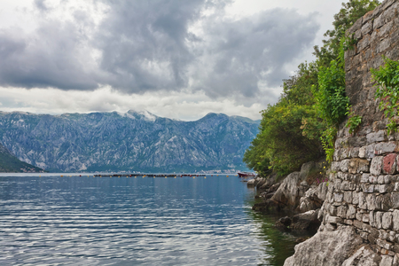 sea and mountains in gloomy weather. Montenegro