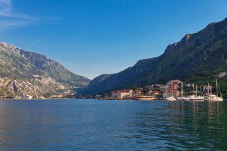 Yacht marina is located opposite the Old Town of Kotor, Montenegro Standard-Bild