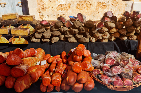 Traditional sausage Sobrasada and jerky meat on the market on the island of Mallorca. Balearic Islands. Spain Reklamní fotografie