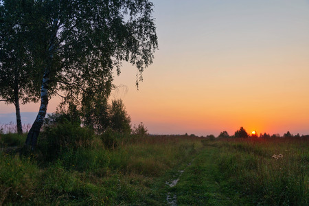 Landscape with coloful sunset in summer field Stockfoto - 122398882