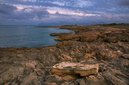 Seacoast near Can Picafort beach in sunset, Mallorca, Balearic islands, Spain