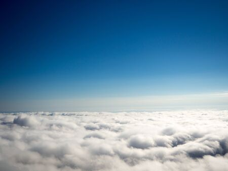 clearly: Perfect sea of fog and clearly blue sky background Stock Photo