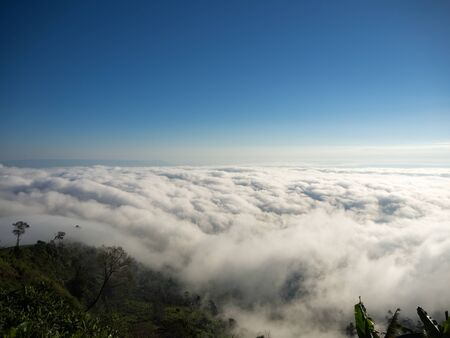 clearly: Beautiful sea of fog, landscape, clearly blue sky background Stock Photo