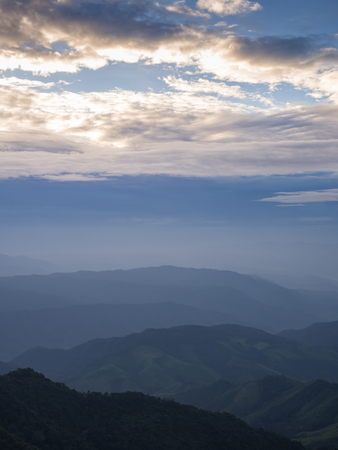 Beautiful cloudy weather over mountains, cloudy and fog in the moring with sunrise