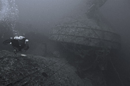 ship wreck: A technical diver on a wreck at 180 ft