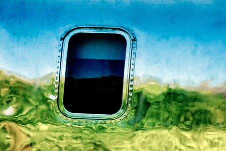 airstream: Hills Reflected on an Airstream Trailer Stock Photo