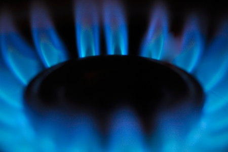 Flames rising from a gas burner Stock Photo - 18308637