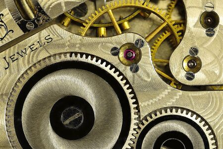 timepieces: Macro of mechanism in a stopwatch  Stock Photo