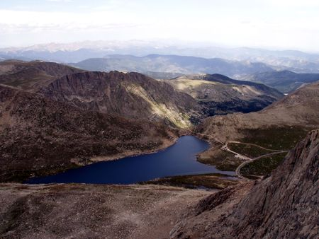 mount evans: Mount Evans overlooking Summit Lake Stock Photo