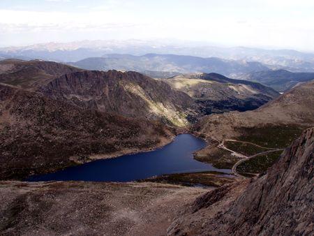 Mount Evans overlooking Summit Lake Stock Photo