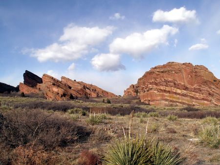 Red Rocks Amphitheater in the distance