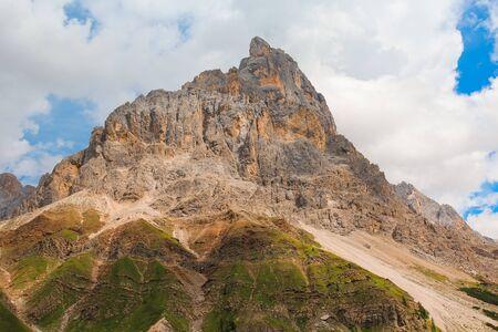 High mountain rock peak in the Dolomites of San Martino di Castrozza