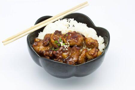 rice under fried pork photo