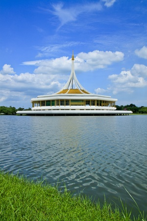 Thai style castle in the middle of pond, Rama 9 National Park,Bangkok-Thailand