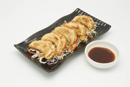 Fried Dumplings Chinese Style Cuisine as Meal Stock Photo