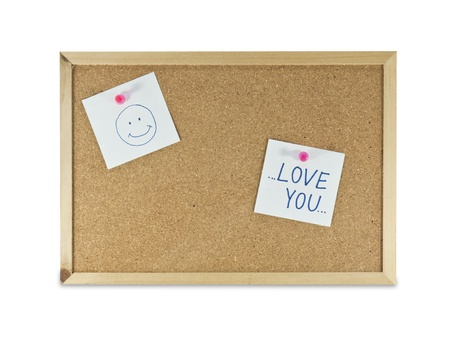 bulletins: collection of various note papers on cork board