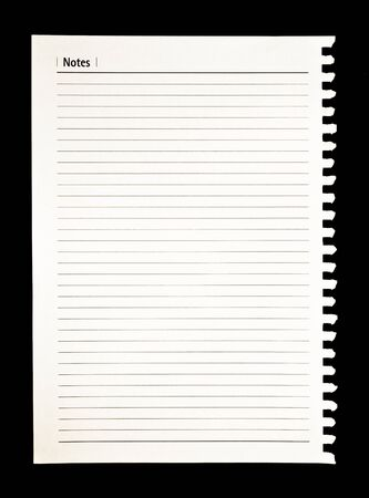 notebook paper on black background
