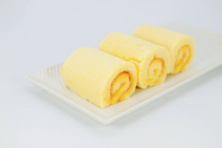 Biscuit roll with cream photo