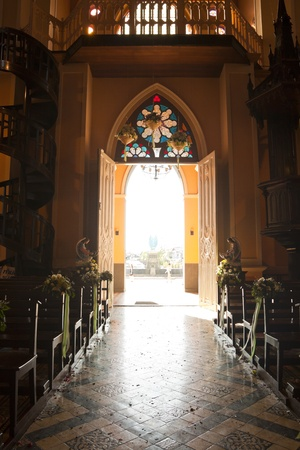 Architecture and decoration of the church in Thailand.  Editorial