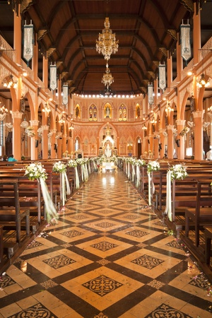 Architecture and decoration of the church in Thailand.